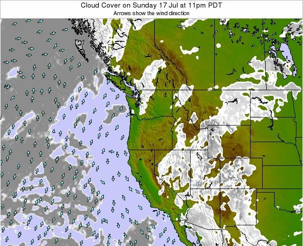 Oregon Cloud Cover On Monday 18 Feb At 10pm Pst