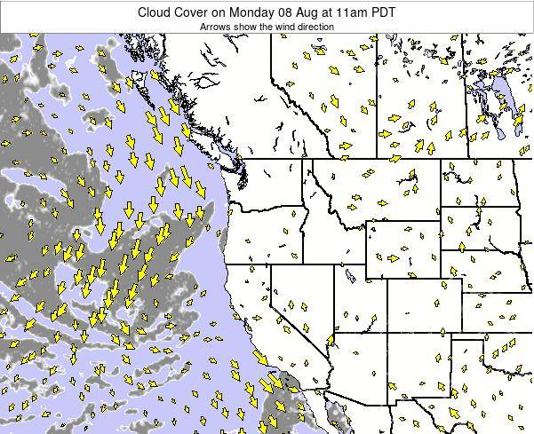 Oregon Cloud Cover on Thursday 23 May at 5am PDT