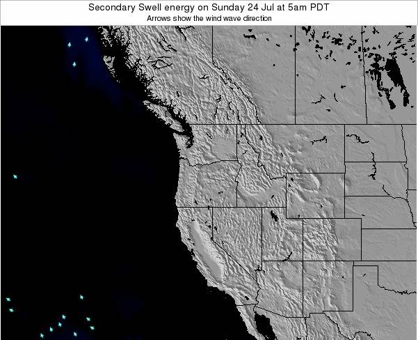 Oregon Secondary Swell energy on Thursday 13 Mar at 11am PDT