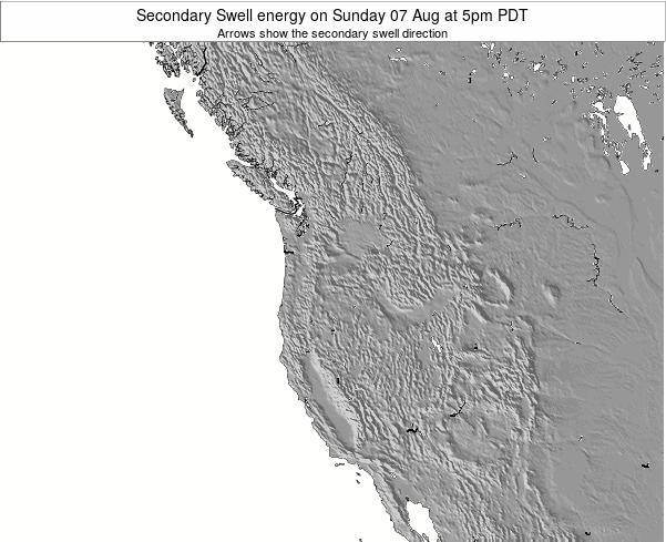 Oregon Secondary Swell energy on Saturday 10 Oct at 5pm PDT