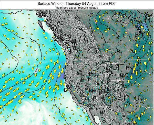 Oregon Surface Wind On Thursday 23 Aug At 5pm Pdt