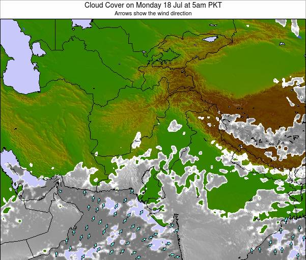 Pakistan Cloud Cover on Monday 21 Apr at 5am PKT map