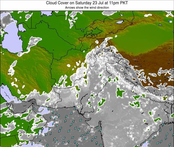 Pakistan Cloud Cover on Thursday 24 Jul at 11pm PKT map