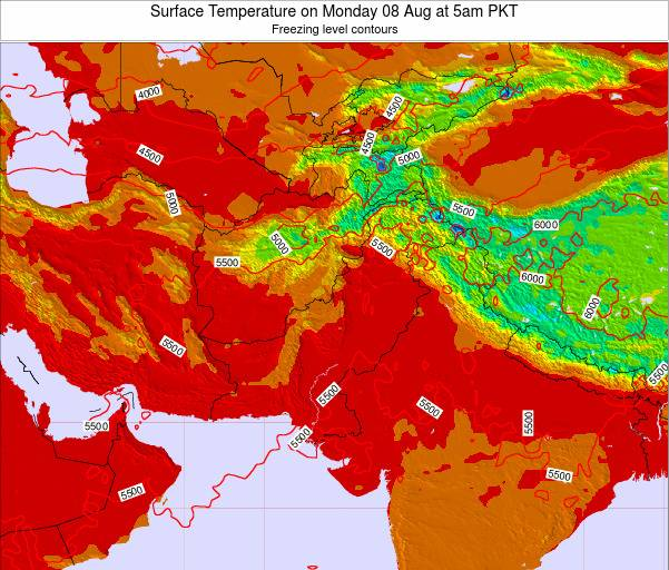 Pakistan Surface Temperature on Wednesday 23 Apr at 11pm PKT map