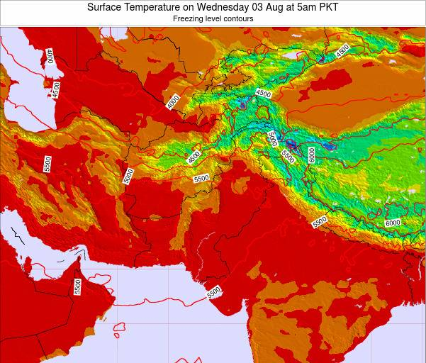 Pakistan Surface Temperature on Tuesday 21 May at 11pm PKT map