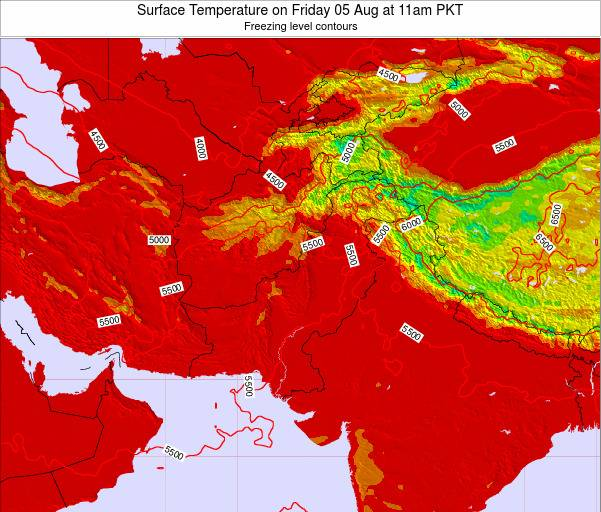 Pakistan Surface Temperature on Saturday 26 Jul at 5am PKT map