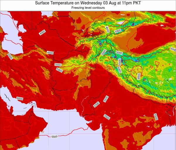 Pakistan Surface Temperature on Tuesday 10 Dec at 11pm PKT map