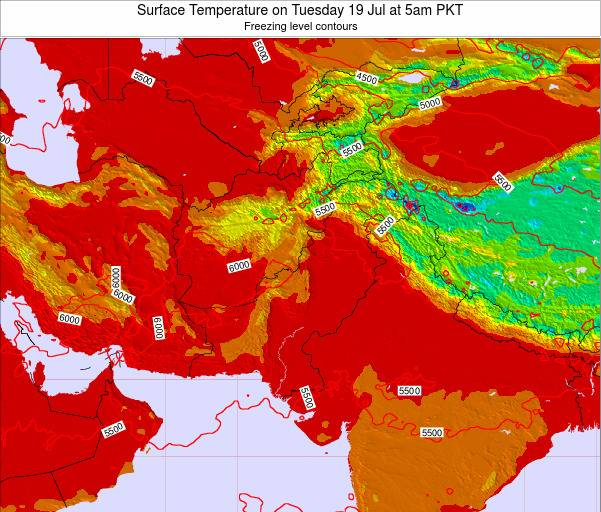 Pakistan Surface Temperature on Friday 18 Apr at 11pm PKT map