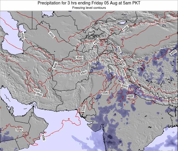 Pakistan Precipitation for 3 hrs ending Monday 10 Mar at 11am PKT map