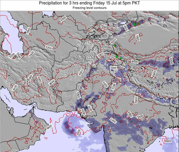 Pakistan Precipitation for 3 hrs ending Thursday 17 Apr at 5pm PKT map