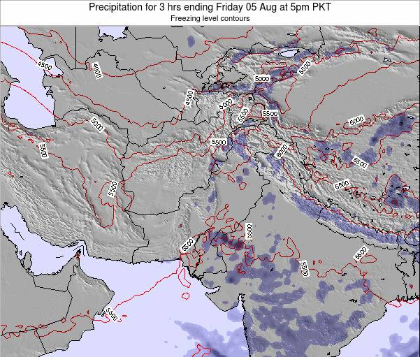 Pakistan Precipitation for 3 hrs ending Saturday 02 Aug at 11am PKT map
