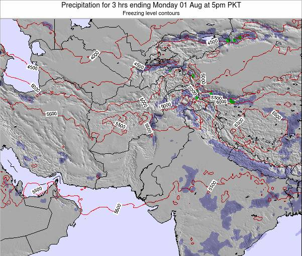 Pakistan Precipitation for 3 hrs ending Sunday 08 Dec at 5am PKT map