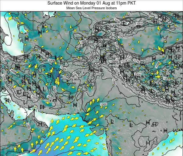 Pakistan Surface Wind on Saturday 25 May at 5am PKT map