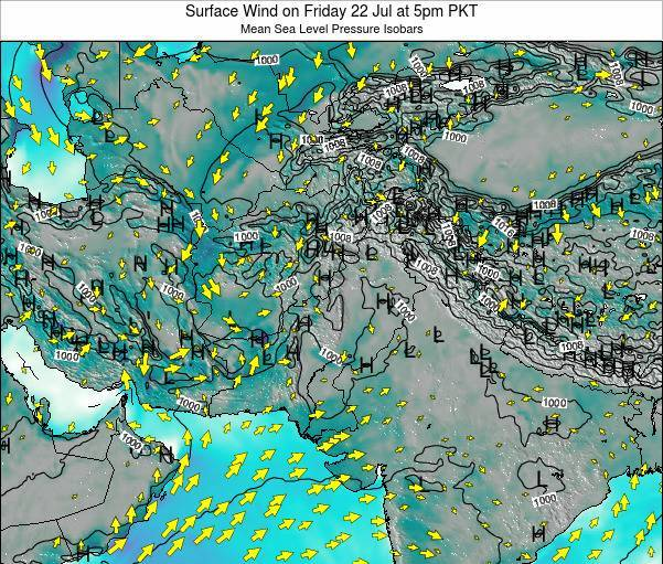 Pakistan Surface Wind on Monday 21 Apr at 5pm PKT map