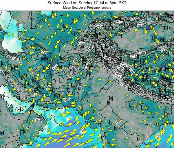 Pakistan Surface Wind on Friday 25 Apr at 11am PKT map