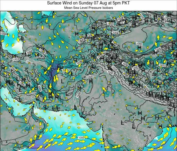 Pakistan Surface Wind on Thursday 24 Jul at 11pm PKT map