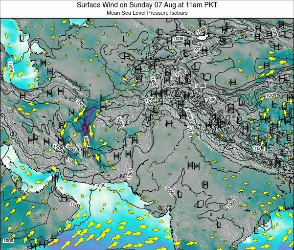Pakistan Surface Wind on Monday 28 Jul at 11pm PKT map