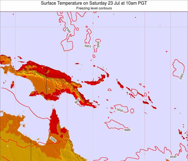 Papua New Guinea Surface Temperature on Wednesday 19 Jun at 10am PGT