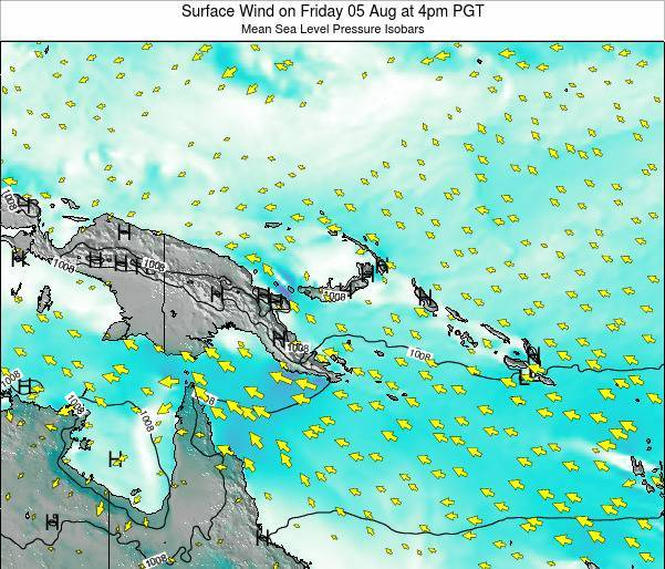 Papua New Guinea Surface Wind on Tuesday 28 May at 4am PGT