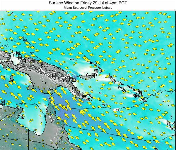 Papua New Guinea Surface Wind on Thursday 27 Jun at 4am PGT