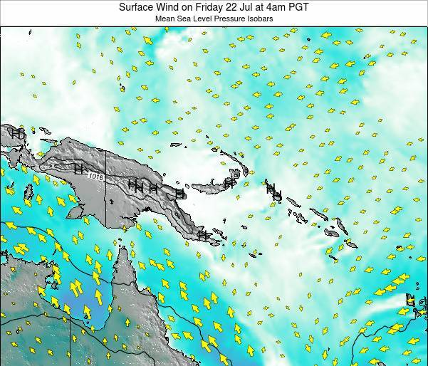 Papua New Guinea Surface Wind on Thursday 20 Jun at 4pm PGT