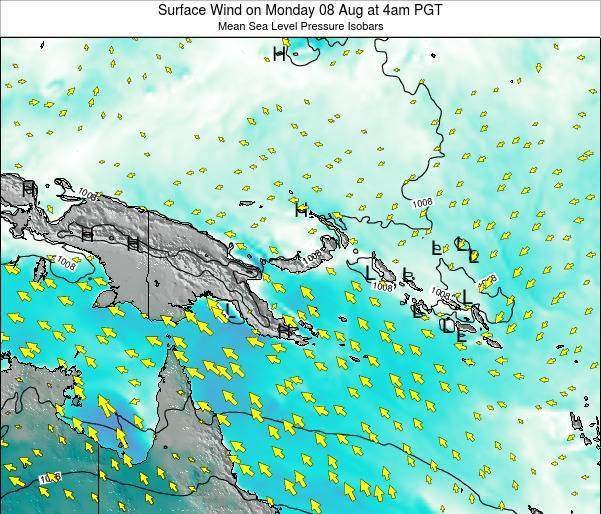 Papua New Guinea Surface Wind on Sunday 20 Apr at 4am PGT