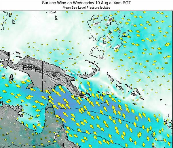 Papua New Guinea Surface Wind on Thursday 13 Mar at 4pm PGT
