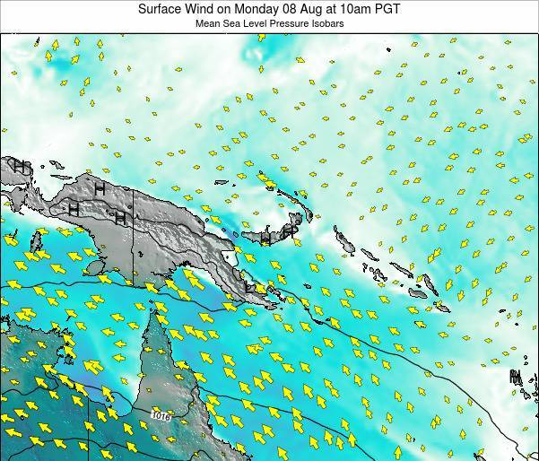 Papua New Guinea Surface Wind on Monday 09 Dec at 10pm PGT