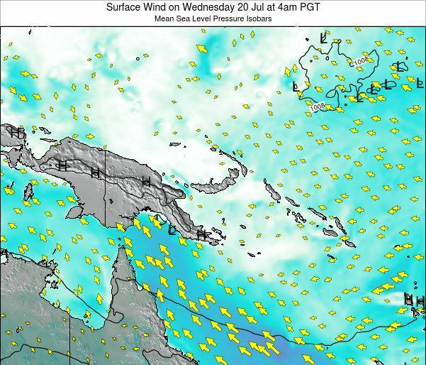 Papua New Guinea Surface Wind on Thursday 24 Apr at 10pm PGT