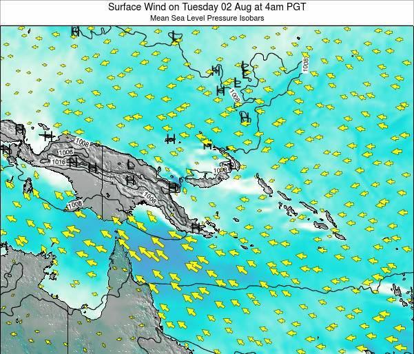 Papua New Guinea Surface Wind on Sunday 01 Feb at 4am PGT