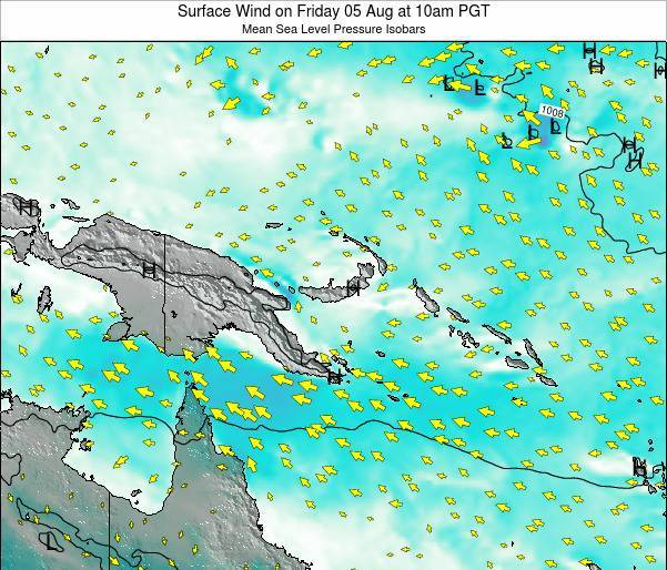 Papua New Guinea Surface Wind on Friday 24 May at 4am PGT