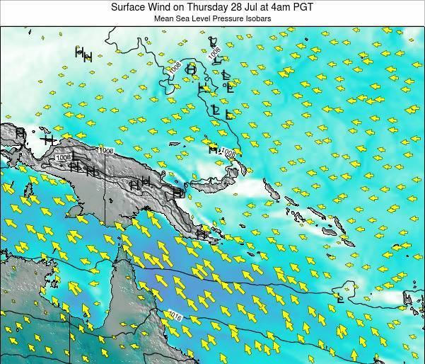 Papua New Guinea Surface Wind on Monday 27 May at 10pm PGT