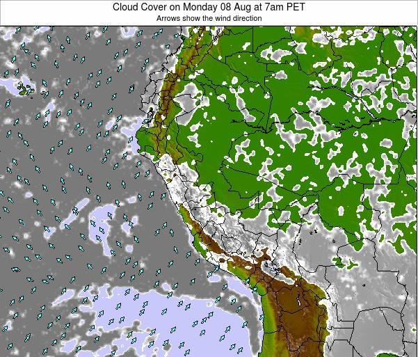 Peru Cloud Cover on Saturday 19 Apr at 7pm PET