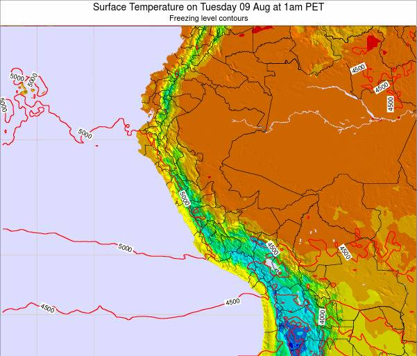 Peru Surface Temperature on Monday 27 May at 7pm PET