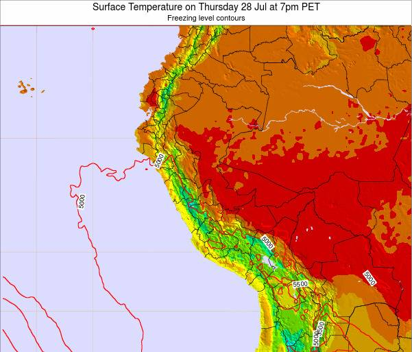 Peru Surface Temperature on Tuesday 25 Jun at 7am PET