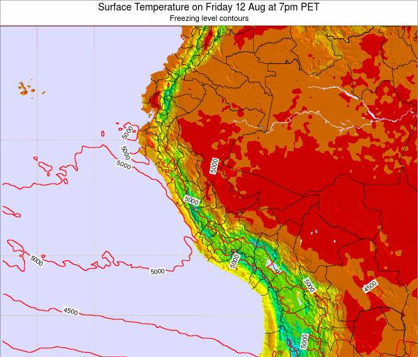 Peru Surface Temperature on Friday 31 May at 1pm PET