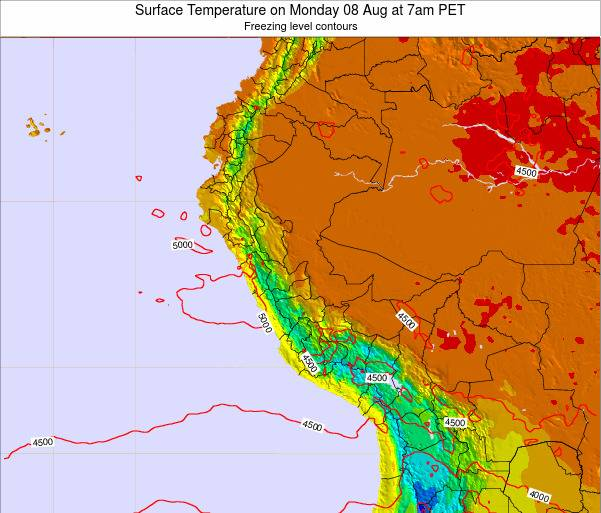 Peru Surface Temperature on Saturday 25 May at 7am PET