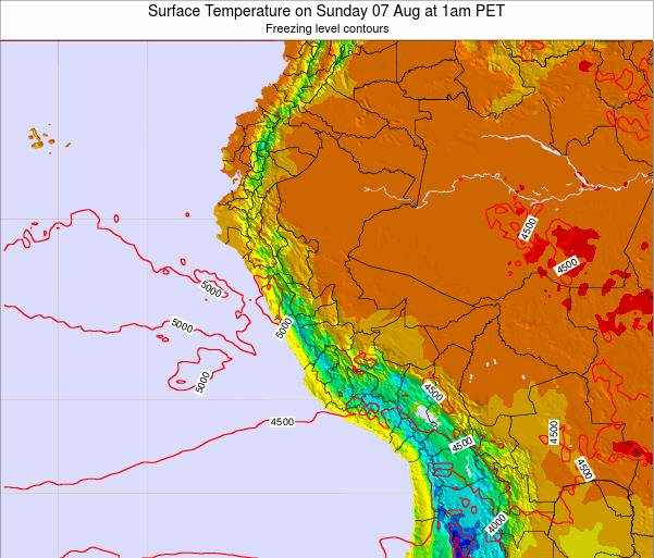 Peru Surface Temperature on Tuesday 21 May at 7pm PET
