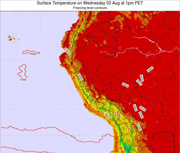 Peru Surface Temperature on Sunday 19 May at 7am PET