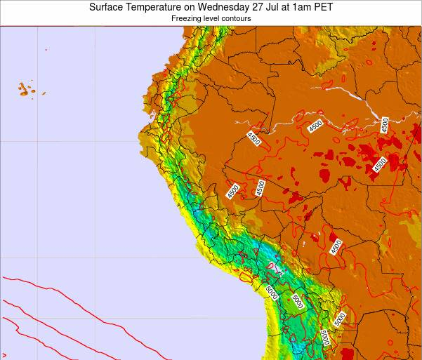 Peru Surface Temperature on Thursday 23 May at 7pm PET