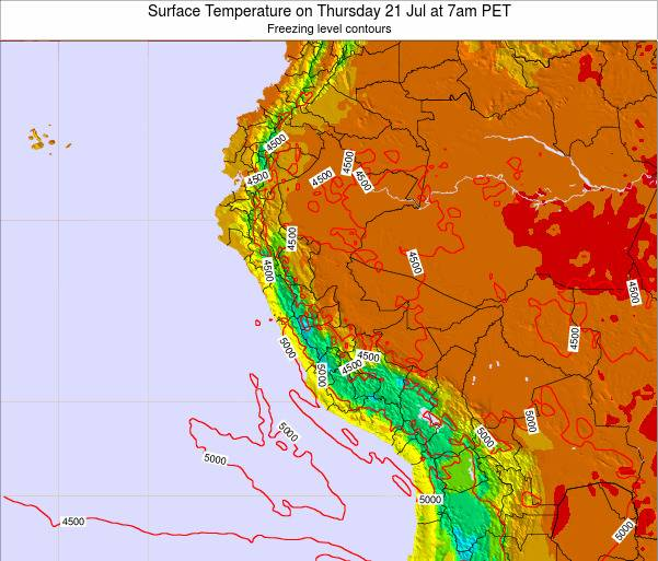 Peru Surface Temperature on Sunday 26 May at 1am PET