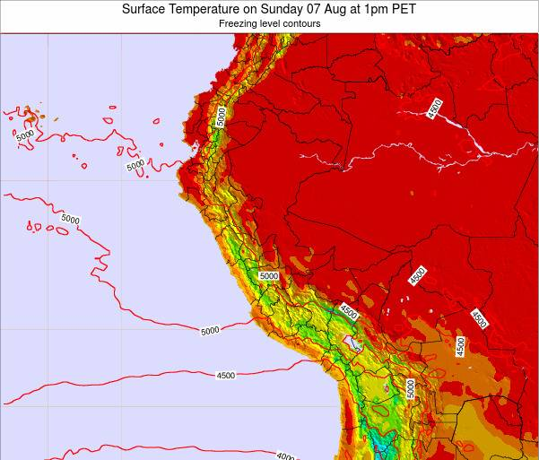 Peru Surface Temperature on Tuesday 28 May at 7am PET