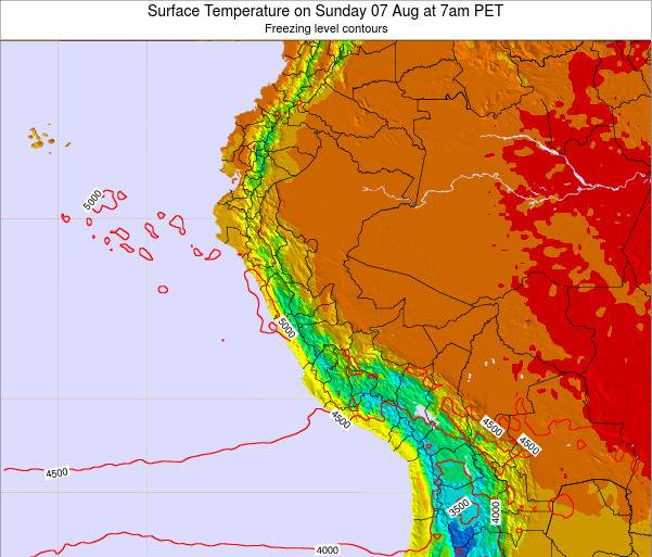 Peru Surface Temperature on Wednesday 29 May at 1am PET