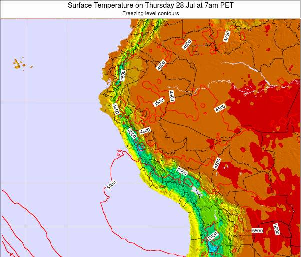 Peru Surface Temperature on Tuesday 21 May at 1pm PET