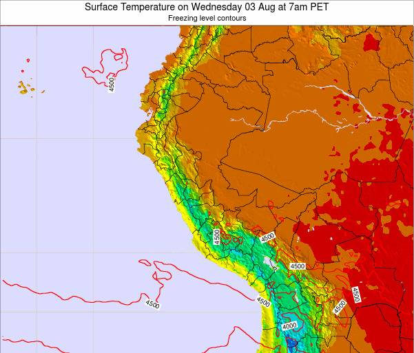 Peru Surface Temperature on Tuesday 28 May at 1am PET