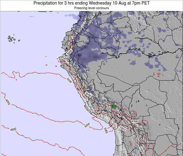 Peru Precipitation for 3 hrs ending Saturday 22 Jun at 7am PET