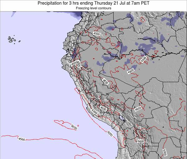 Peru Precipitation for 3 hrs ending Tuesday 22 Apr at 1am PET