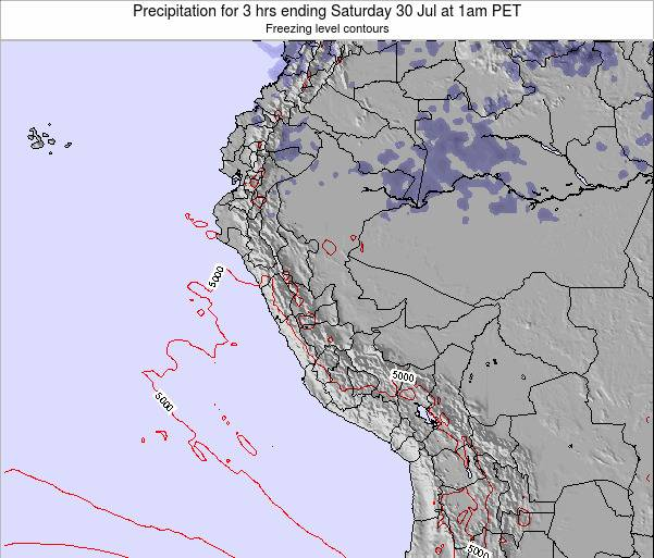 Peru Precipitation for 3 hrs ending Friday 26 May at 7pm PET