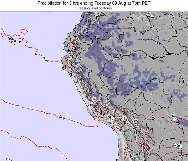 Peru Precipitation for 3 hrs ending Saturday 15 Mar at 1pm PET