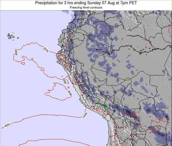 Peru Precipitation for 3 hrs ending Monday 28 Jul at 1pm PET